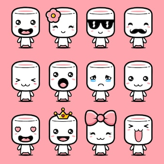 Cute marshmallow mascot design set