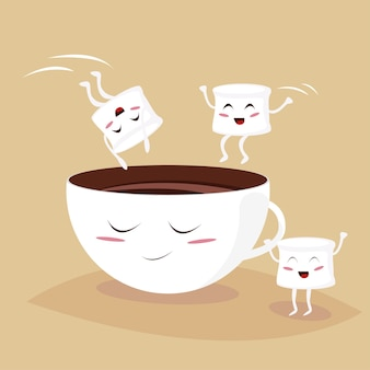 Cute marshmallows jumping in kawaii cacao cup