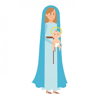 Cute mary virgin with jesus baby characters