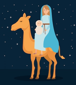 Cute mary virgin with jesus in camel characters