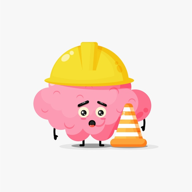 Cute mascot brain works in construction