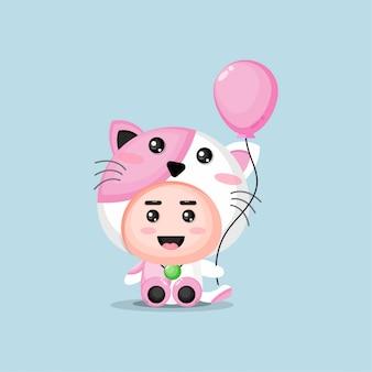Cute mascot cat holding a balloon