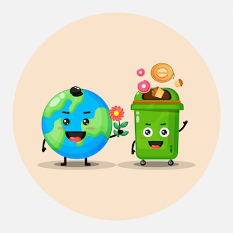 Cute mascot design earth and trash bin