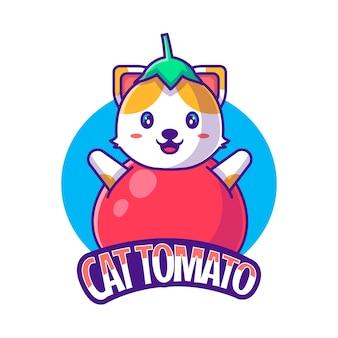 Милый талисман логотип мультфильм кот помидор векторные иллюстрации
