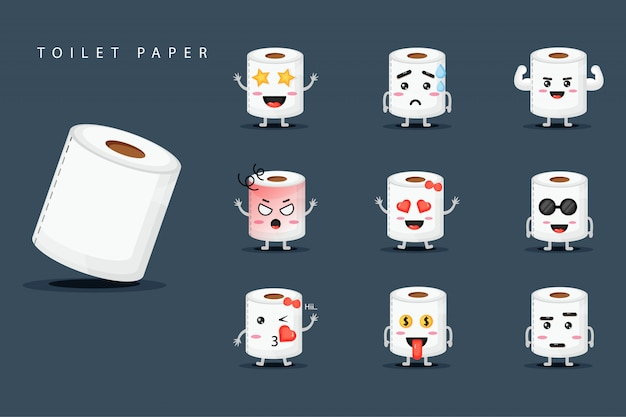 Cute mascot toilet tissue set