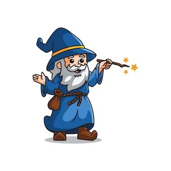 Cute mascot wizard