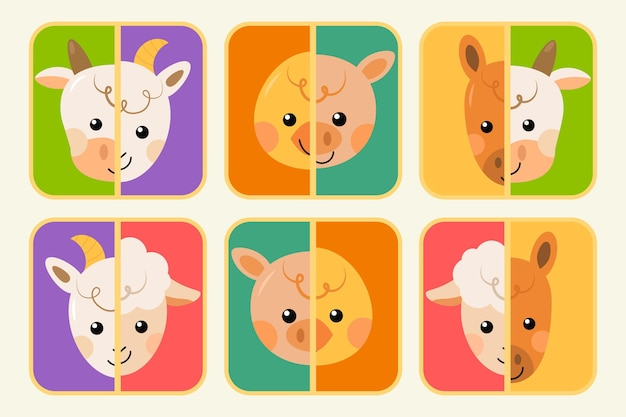 Cute match game with animals