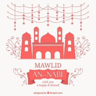 Cute mawlid background with mosque