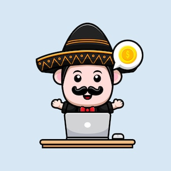 Cute maxican mariachi head inside donuts cartoon mascot