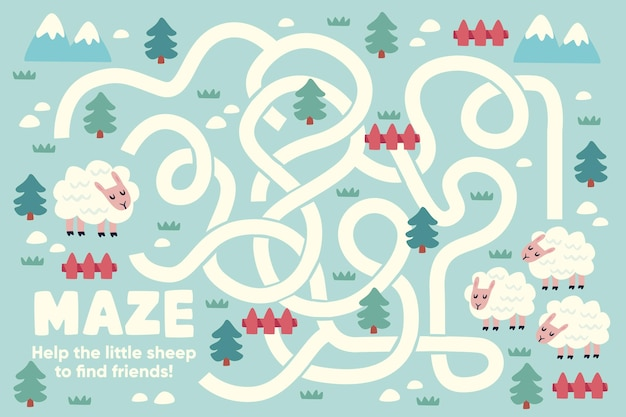 Cute maze for children with illustrations