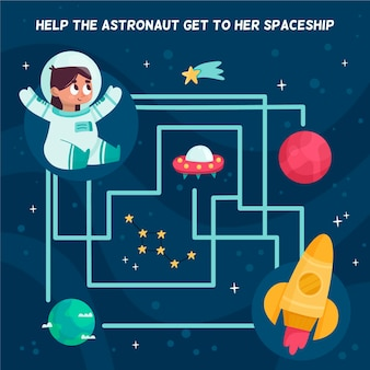 Cute maze for children with space elements