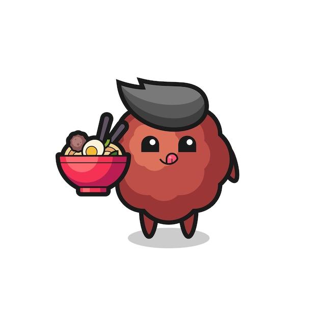 Милый персонаж фрикадельки ест лапшу