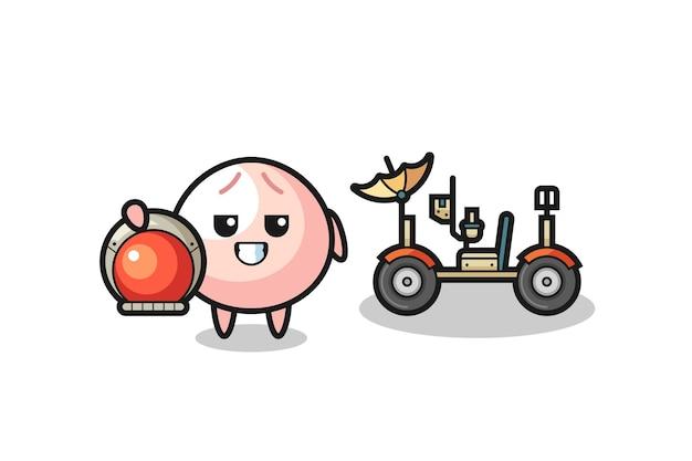 The cute meatbun as astronaut with a lunar rover , cute style design for t shirt, sticker, logo element