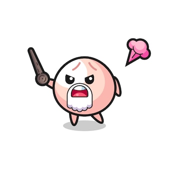 Cute meatbun grandpa is getting angry , cute style design for t shirt, sticker, logo element