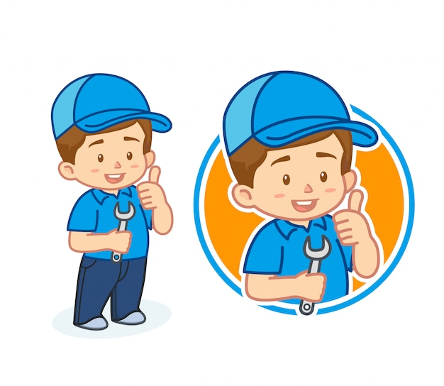 Cute mechanic mascot character