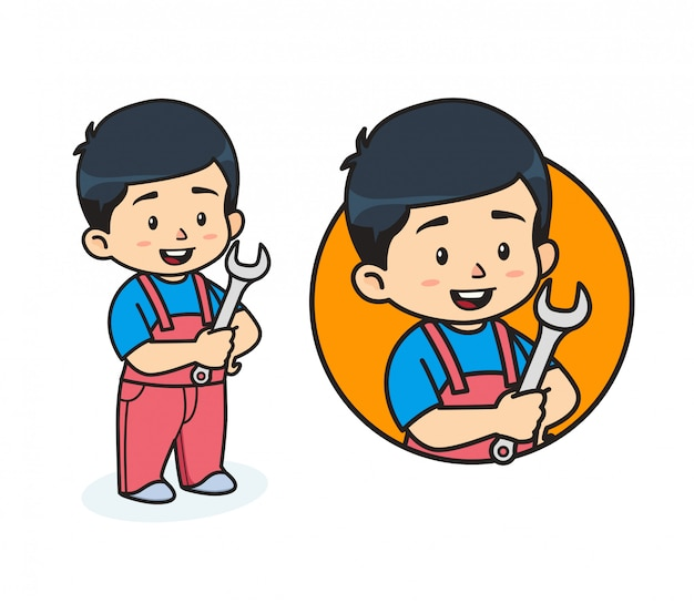 Cute mechanic mascot illustration