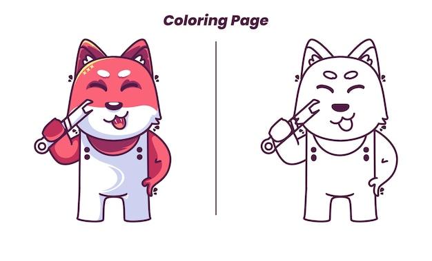 아이들에게 적합한 색칠 공부 페이지가 있는 귀여운 기계 여우