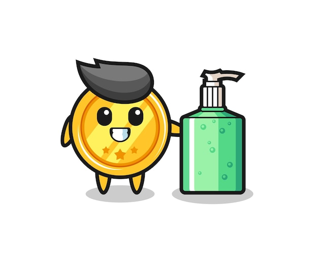 Cute medal cartoon with hand sanitizer , cute style design for t shirt, sticker, logo element