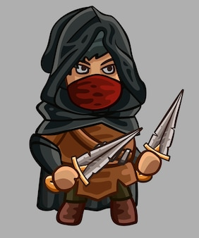 Cute medieval character assassin