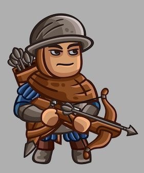 Cute medieval character with crossbow