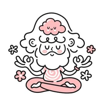 中に幸せな脳を持つかわいい瞑想ヒッピー男。ベクトル漫画のキャラクターイラストアイコン。白い背景に分離されています。男、精神的な調和、瞑想、マインドフルネスの概念の男