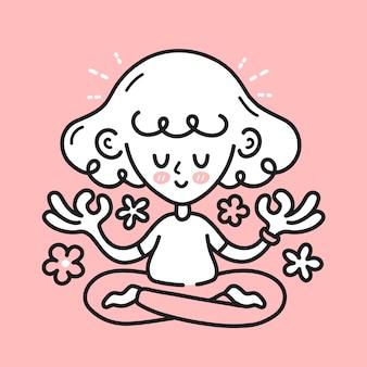 Милая медитирующая женщина-девушка со счастливым мозгом внутри