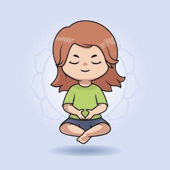かわいい瞑想の女の子のイラストデザイン