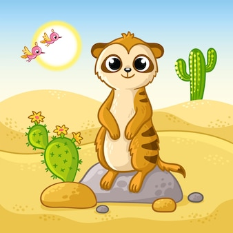 Cute meerkat stands on a stone in the desert among cacti and sand
