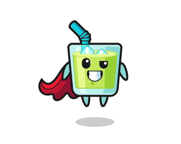The cute melon juice character as a flying superhero , cute style design for t shirt, sticker, logo element
