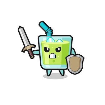 Cute melon juice soldier fighting with sword and shield , cute style design for t shirt, sticker, logo element