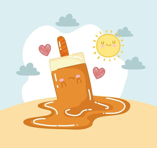 Cute melted ice cream Premium Vector