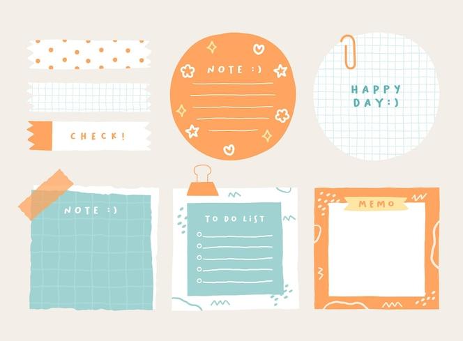 かわいいメモテンプレート日記やオフィスで使用される縞模様のメモの空白のノートブックと破れたメモのコレクション
