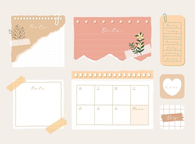 Симпатичный шаблон памятки коллекция полосатых заметок, пустых блокнотов и разорванных заметок, используемых в дневнике или офисе