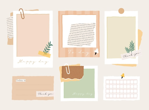 Cute memo template a collection of striped notes blank notebooks and torn notes used in a diary or office