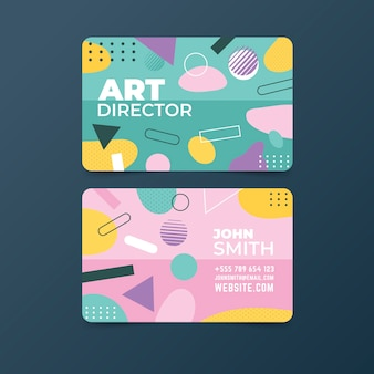 Cute memphis abstract business card template