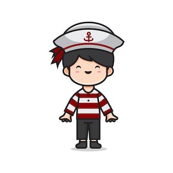 Cute men costume sailor Premium Vector
