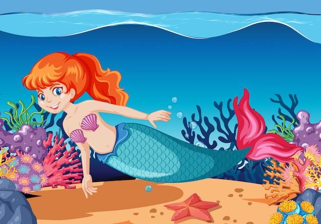 Симпатичная русалка мультипликационный персонаж мультяшном стиле на подводном фоне моря