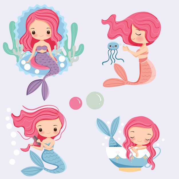Cute mermaid cartoon character