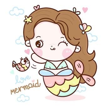 Cute mermaid cartoon and fish