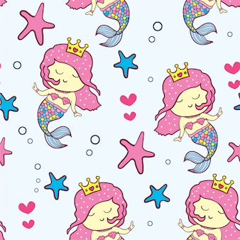 Cute mermaid cartoon seamless pattern