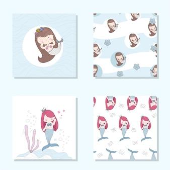 Cute mermaid cartoon set seamless pattern