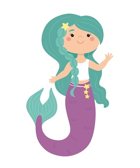 Cute mermaid in cartoon style childrens illustration print for clothes sticker poster Premium Vector