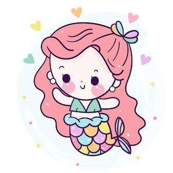 Милый мультфильм русалка с мини-сердцем