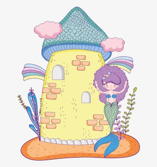 Cute mermaid and castle with clouds and rainbows