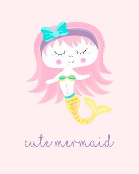 かわいい人魚のキャラクターが描かれたスタイルを手に。あなたのためにデザイン。