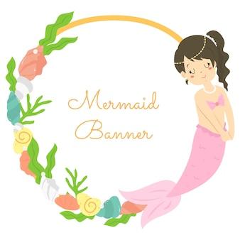 Cute mermaid circle banner vector