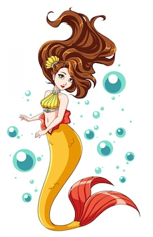 Cute mermaid design. cartoon girl with brown hair and yellow fishtail. isolated on white background and bubbles.