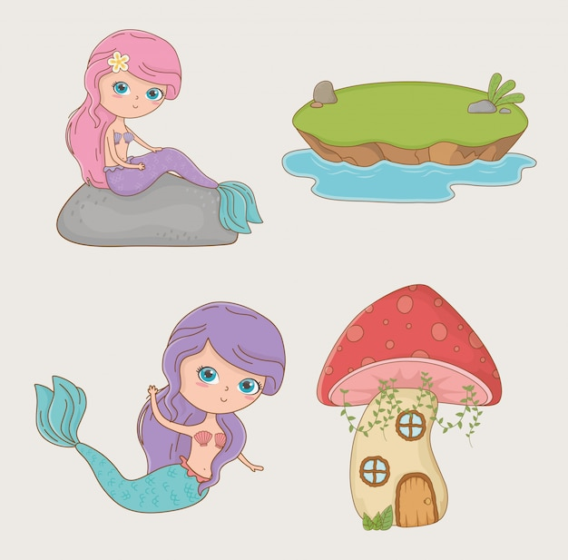Cute mermaid fairytale character with items