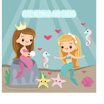 Cute mermaid and friend cartoon character