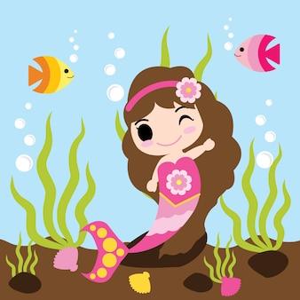 Симпатичная девушка русалки плавает с рыбами в векторном мультфильме воды, открытка для малышей, обои и поздравительная открытка, дизайн футболки для детей